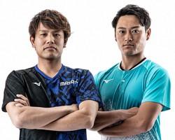 ソフトテニスのオンラインサービスを始めた「エースマネジメント」共同代表の荻原雅斗さん(左)と船水雄太さん=荻原さん提供