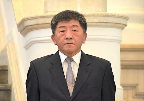 陳時中氏=台北市の総統府で2020年4月1日、福岡静哉撮影