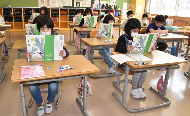 授業が再開され国語の教科書を熱心に読む児童=秋田県にかほ市の小学校で2020年5月7日、高野裕士撮影(写真と記事は無関係です)