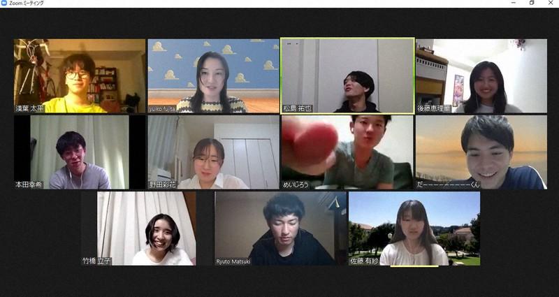 オンラインで集合した大学のゼミ生たち
