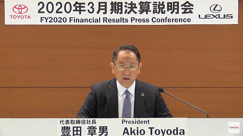 トヨタ自動車の2020年3月期決算説明会に出席した豊田章男社長=2020年5月12日、ユーチューブのトヨタ自動車公式チャンネルから
