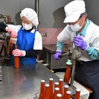 手作業で進められるジュース製造。新たな委託先のトマトを加工した=埼玉県小鹿野町の大平戸農園で