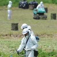 除染実験が進む飯館村の水田=福島県同村で2012年5月21日、須賀川理撮影