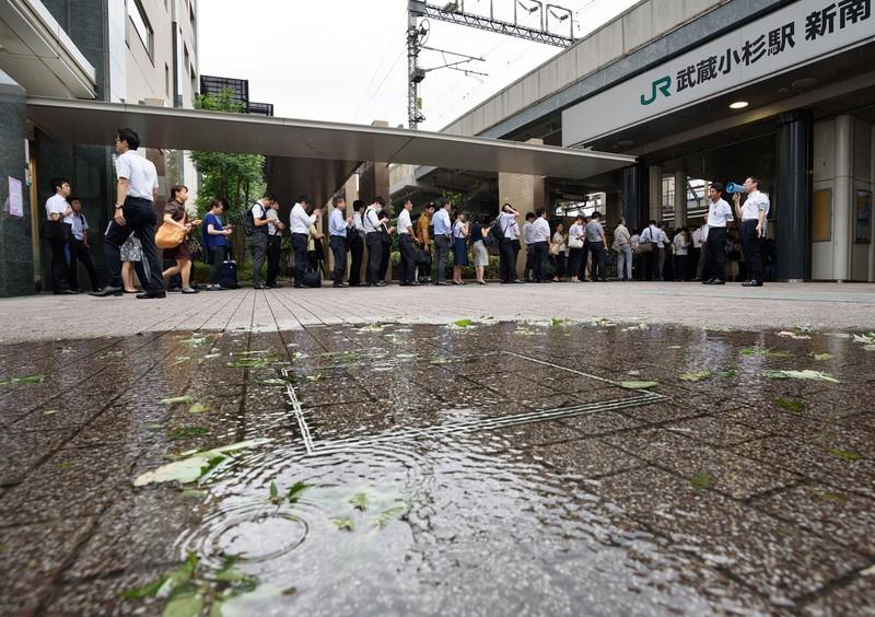 武蔵小杉周辺は内水氾濫で大きな被害を受けた(Bloomberg)