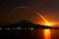 Traces of moving light are seen from the last H2B rocket carrying the Japan Aerospace Exploration Agency's Kounotori 9 unmanned cargo vessel after it lifted off from the town of Minamitane, Kagoshima Prefecture, southwestern Japan, for the International Space Station before dawn on May 21, 2020 in this photo exposed for seven minutes. (Mainichi/Osamu Sukagawa)