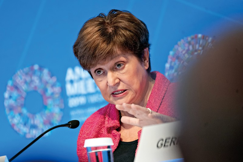 「大封鎖」というメッセーを発したIMFのゲオルギエバ専務理事(Bloomberg)