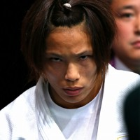 柔道女子57㌔級で金メダルを勝ち取った松本薫選手。闘争心を前面に出し、準決勝にのぞむ=ロンドンのエクセルで2012年7月30日、森田剛史撮影