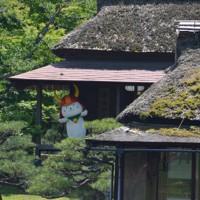 約3カ月ぶりの登場で、ご無沙汰のあいさつをするひこにゃん=滋賀県彦根市金亀町で2020年5月23日午後1時20分、伊藤信司撮影