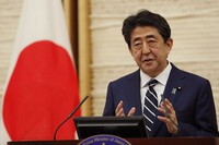 Japan's Prime Minister Shinzo Abe speaks at a news conference in Tokyo, on May 25, 2020. (Kim Kyung-hoon/Pool Photo via AP)