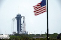 The SpaceX Falcon 9, with the Crew Dragon spacecraft on top of the rocket, sits on Launch Pad 39-A, on May 25, 2020, at Kennedy Space Center, Fla. Two astronauts will fly on the SpaceX Demo-2 mission to the International Space Station scheduled for launch on May 27. (AP Photo/David J. Phillip)