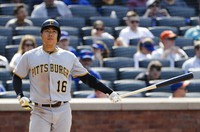In this July 28, 2019, file photo, then Pittsburgh Pirates' Jung Ho Kang, of South Korea, reacts after striking out during the eighth inning of a baseball game against the New York Mets, in New York. (AP Photo/Frank Franklin II)