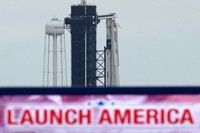 The SpaceX Falcon 9, with the Crew Dragon spacecraft on top of the rocket, sits on Launch Pad 39-A, on May 26, 2020, at Kennedy Space Center in Cape Canaveral, Fla. (AP Photo/David J. Phillip)