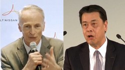 ルノーのスナール会長(左)と日産自動車の内田誠社長=2020年5月27日