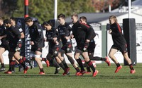 Crusaders players practice during a training session at Rugby Park in Christchurch, New Zealand, on May 27, 2020. (AP Photo/Mark Baker)