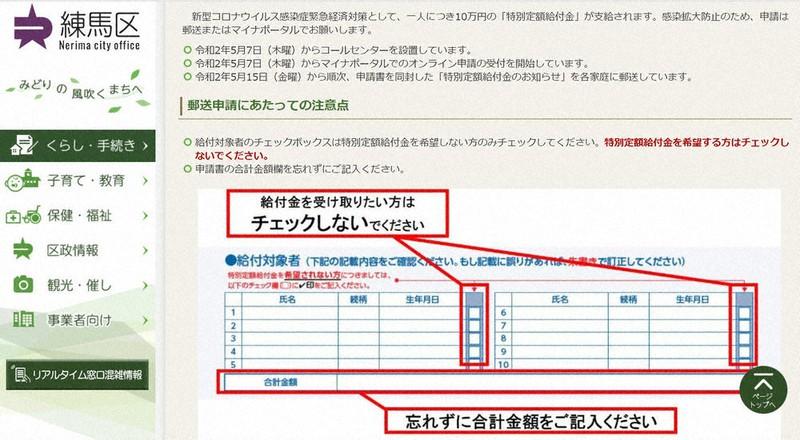 練馬 区 10 万 円 給付