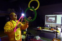Kosuke Omune gives a clown performance via an online meeting system to children struggling with illnesses, in Nagoya's Nakamura Ward on May 2, 2020. (Mainichi/Koji Hyodo)