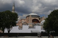 A view of a ''wall' set in front of Istanbul's 6th-century Hagia Sophia, the main cathedral of the Byzantine Empire which was converted into a mosque with the Ottoman conquest of the city, then known as Constantinople, in 1453, that was to be used as a set for the celebrations to mark the 567th anniversary of the conquest in Istanbul,on May 29, 2020. (AP Photo/Emrah Gurel)