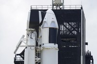 The SpaceX Falcon 9, with Dragon crew capsule on top of the rocket, sits on Launch Pad 39-A, on May 29, 2020, at the Kennedy Space Center in Cape Canaveral, Fla. (AP Photo/David J. Phillip)