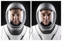 This combination of undated photos made available by SpaceX shows NASA astronauts Doug Hurley, left, and Bob Behnken in their spacesuits at SpaceX headquarters in Hawthorne, Calif. (SpaceX via AP)