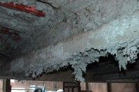 A photo of asbestos coating provided by the Tokyo Occupational Safety and Health Center is shown here.
