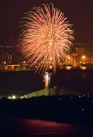 Fireworks are set off in Fukuoka's Higashi Ward on June 1, 2020. The event was part of the