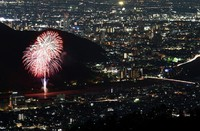 Fireworks are seen from the summit of Mount Dodogamine in the city of Gifu in the central Japan prefecture of the same name in this long-exposure composite photo taken on June 1, 2020. The event was part of the