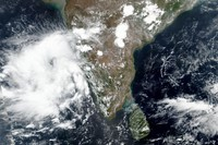 This May 31, 2020 satellite image released by NASA shows Cyclone Nisarga roaring toward the western coast of India. (NASA Worldview, Earth Observing System Data and Information System (EOSDIS) via AP)