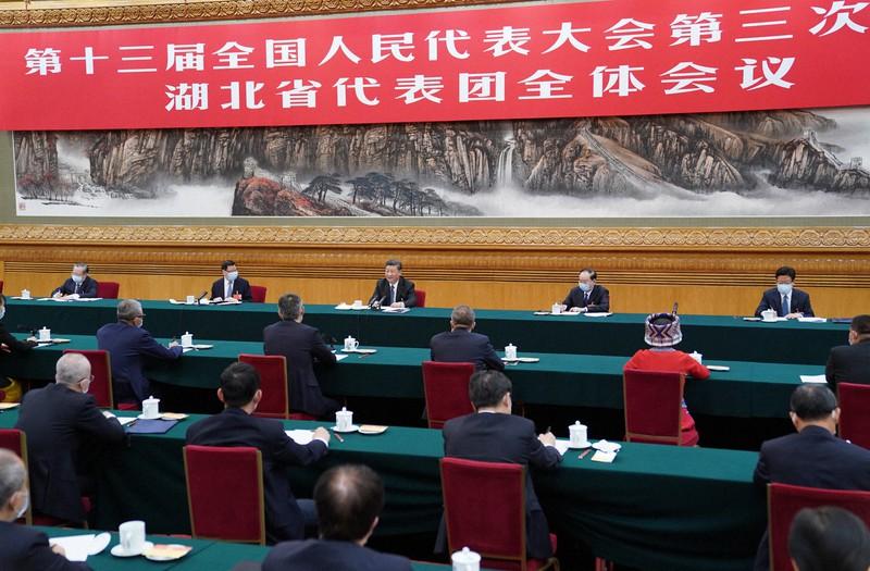 習近平国家主席が出席した全人代の湖北省分科会=北京で2020年5月24日、新華社