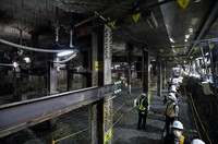 The construction site of the concourse on the second basement floor at Tokyo Metro's Toranomon Hills Station is seen in the capital's Minato Ward on June 2, 2020. (Mainichi/Masahiro Ogawa)