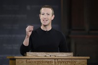 In this Oct. 17, 2019 file photo, Facebook CEO Mark Zuckerberg speaks at Georgetown University in Washington. (AP Photo/Nick Wass)
