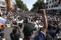 Demonstrators protest the death of George Floyd on June 2, 2020, in Washington. (AP Photo/Alex Brandon)