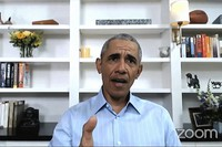 In this image from video provided by My Brother's Keeper Alliance and The Obama Foundation, former U.S. President Barack Obama speaks on June 3, 2020, during virtual town hall event with young people to discuss policing and the civil unrest that has followed the killing of George Floyd by police in Minneapolis. (My Brother's Keeper Alliance and The Obama Foundation via AP)