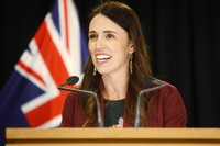 In this Jan. 28, 2020 file photo, New Zealand Prime Minister Jacinda Ardern talks to reporters at Parliament in Wellington, New Zealand. (AP Photo/Nick Perry)
