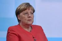 German Chancellor Angela Merkel is pictured ahead of a televised interview at the hauptstadtstudio (Capital city studio) of public broadcaster ARD in Berlin, on June 4, 2020. (John MacDougall/Pool via AP)