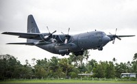 A RNZAF C-130 Hercules takes off from Nausori Airport, having just delivered aid and cargo in support of the relief effort following Tropical Cyclone Winston in Fiji on Feb. 27, 2016. New Zealand's military said on June 5, 2020, it will buy five Super Hercules transport planes from Lockheed Martin for $1 billion. (Sgt. Sam Shepherd/NZDF via AP)