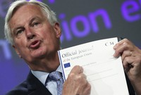 European Union's chief Brexit negotiator Michel Barnier gives a news conference after Brexit talks, in Brussels, Belgium, on June 5, 2020. (Yves Herman, Pool Photo via AP)