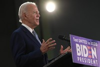 Democratic presidential candidate, former U.S. Vice President Joe Biden speaks during an event in Dover, Delaware, on June 5, 2020. (AP Photo/Susan Walsh)