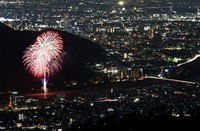 Fireworks are seen from the summit of Mount Dodogamine in the city of Gifu in central Japan in this long-exposure composite photo taken on June 1, 2020. The event was part of the