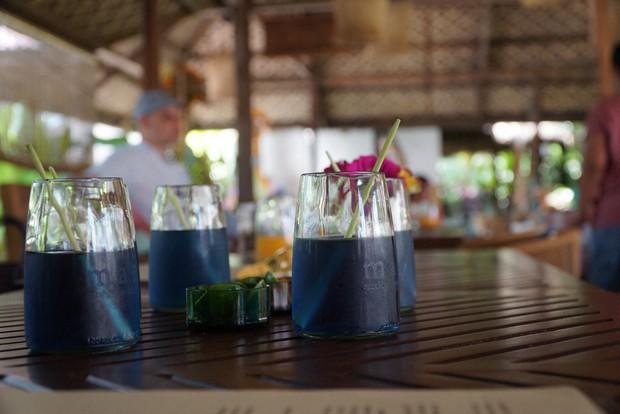 ウエルカムドリンクのコップは飲料水のグラスをアップサイクル。マドラーはレモングラスの茎=筆者提供