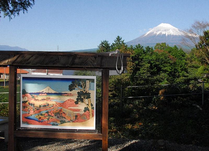 葛飾北斎がこの場所から見た風景を描いたとされる「駿州片倉茶園ノ不二」の案内板と富士山=富士市中野の法蔵寺で2018年10月21日、高橋秀郎撮影