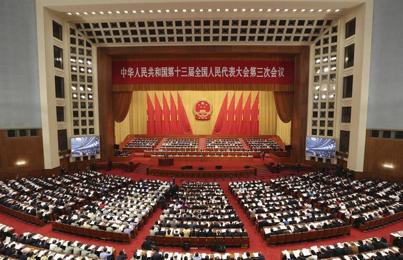当初の予定より遅れて開かれた中国の全人代=北京市の人民大会堂で2020年5月22日、新華社
