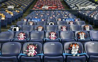 The Orix Buffaloes mascots BaffaloBULL, right front, BaffaloBELL, left front, and other characters are seen in seats at Kyocera Dome Osaka in western Japan on June 19, 2020, Nippon Professional Baseball (NPB)'s 2020 season opening day, for a game between the Buffaloes and the Tohoku Rakuten Golden Eagles. NPB is beginning its season some three months late and without fans in the seats due to the novel coronavirus pandemic. (Mainichi/Tatsuya Fujii)