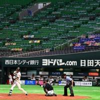 無観客で開幕したプロ野球のソフトバンク-ロッテ戦=ペイペイドームで2020年6月19日、徳野仁子撮影