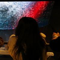 1日2回の餌の時間を利用して、光と音楽の演出で水槽を回遊するイワシの動きを楽しむ企画。リニューアルでLED照明を増設、流れる音楽や光の演出を一新した=北海道登別市の「登別マリンパークニクス」で2020年6月16日、貝塚太一撮影
