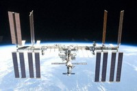 The International Space Station is seen flying at a height of about 400 kilometers above ground. (Image courtesy of NASA)