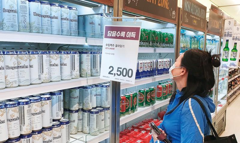 ソウル市内では日本産ビールが急失速 筆者撮影