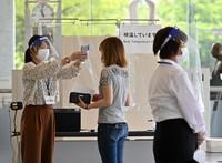 A woman has her temperature checked at the entrance of Hiroshima Peace Memorial Museum in Hiroshima's Naka Ward, on June 5, 2020. (Mainichi/Naohiro Yamada)