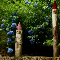 南沢あじさい山の各所にある木彫りの置物=東京都あきる野市で2020年6月26日、滝川大貴撮影