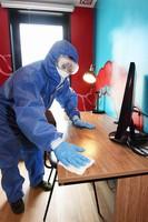 Shu Shoushou, from China, is seen doing antibacterial cleaning training in Naniwa Ward, Osaka, on June 12, 2020. (Mainichi/Takao Kitamura)