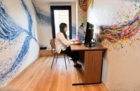 With shortages of inbound tourists, YOLO Base's hotel has shifted its attention to fulfilling the needs of domestic business customers, and turning its rooms into areas that can be used for remote working. One such room is seen at the building in Naniwa Ward, Osaka, on June 15, 2020. (Mainichi/Takao Kitamura)